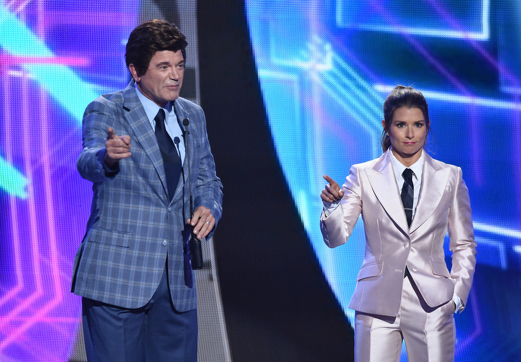 . John Michael Higgins and Danica Patrick appear at the ESPY Awards at Microsoft Theater on Wednesday, July 18, 2018, in Los Angeles. (Photo by Phil McCarten/Invision/AP)