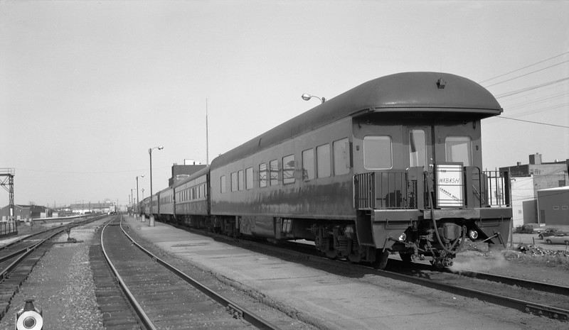2018.15.N79.8956--ed wilkommen 116 neg--N&W--business car 102 on hind end of Wabash Cannonball passenger train just prior to Amtrak--location unknown--no date
