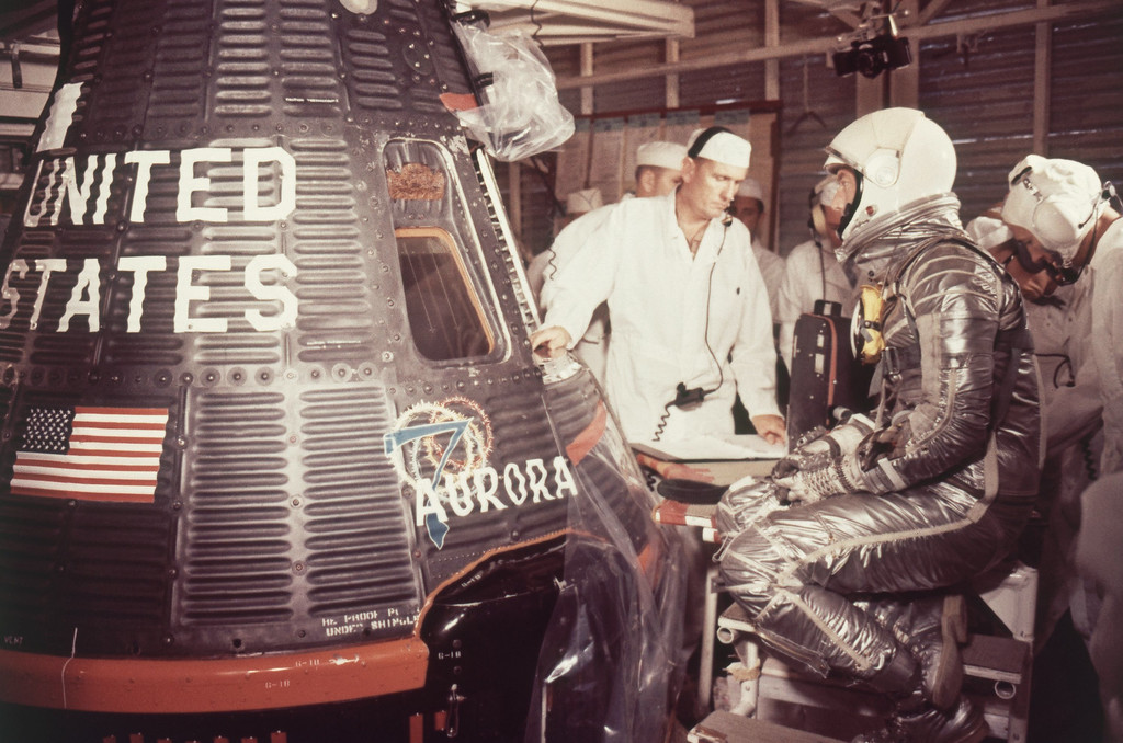 . Astronaut M. Scott Carpenter in space suit about to enter Aurora space capsule in May 1962. (AP Photo)