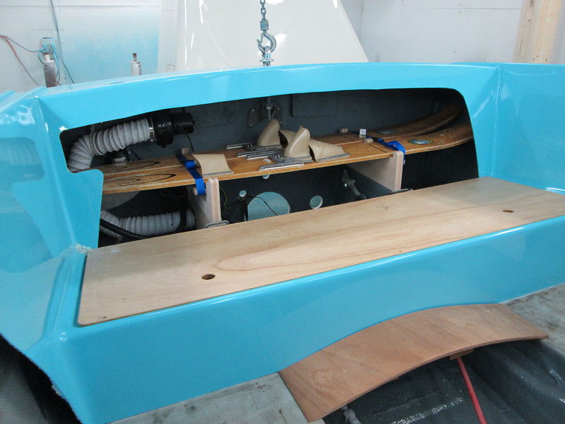 Starboard rear view of the custom water ski rack. The ski rack is located behind the rear seat. With seat in place it is out of sight and out of the way.
