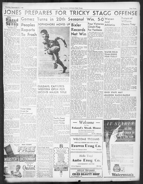 Daily Trojan, Vol. 29, No. 3, September 21, 1937