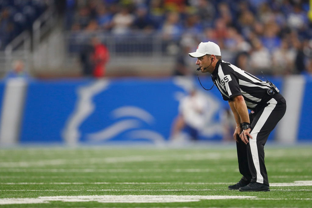 . Side judge Alex Kemp watches during the first half of an NFL football preseason game between the Detroit Lions and the Cleveland Browns, Thursday, Aug. 30, 2018, in Detroit. (AP Photo/Paul Sancya)