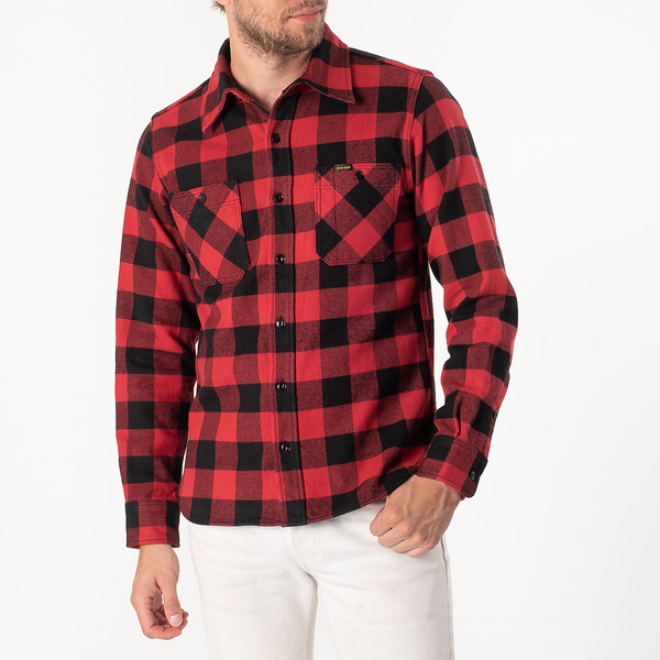 Ultra Heavy Flannel Buffalo Check Work Shirt - Red-Black-6915.jpg