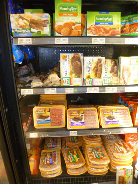 Various Breakfast Sausages - be they pork or turkey - or vegetarian - can be found at AutoMercado.