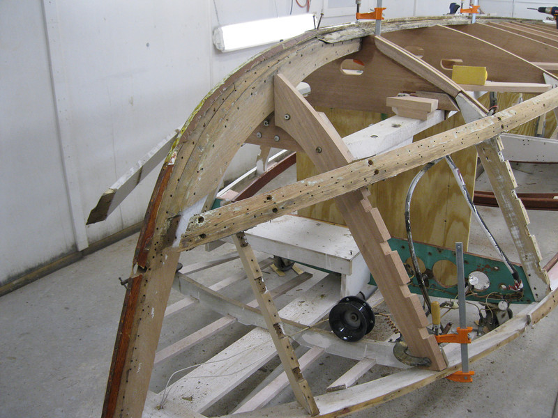 Starboard view of new bottom and side frame installed.