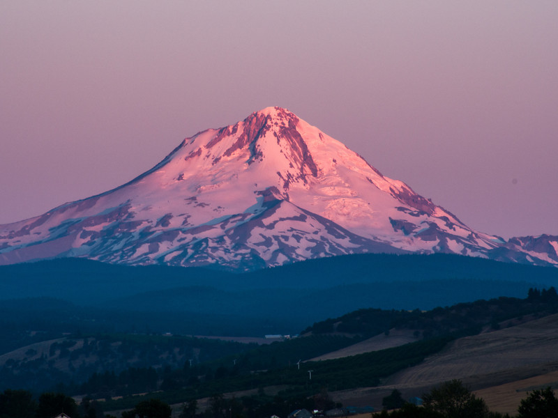Dawn on Mt Hood from the Balch Hotel