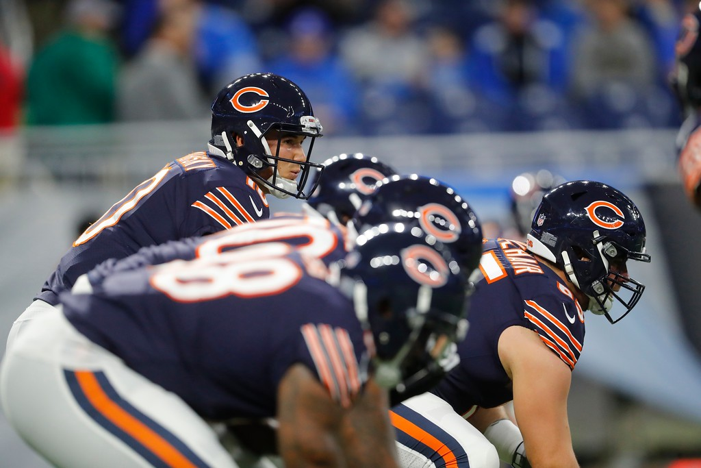 . Chicago Bears quarterback Mitchell Trubisky waits on the snap during the first half of an NFL football game against the Detroit Lions, Saturday, Dec. 16, 2017, in Detroit. (AP Photo/Paul Sancya)