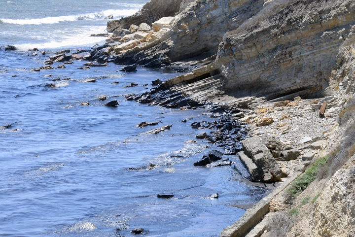 . This photo provided by the Santa Barbara County Fire Department shows an oil slick from a broken pipeline off the central California coast near Santa Barbara on Tuesday, May 19, 2015. Capt. Dave Zaniboni of the Santa Barbara County Fire Department says the pipeline on the land near Refugio State Beach broke Tuesday and spilled oil into a culvert that ran under the U.S. 101 freeway and into the ocean. (Mike Eliason/Santa Barbara County Fire Department via AP)