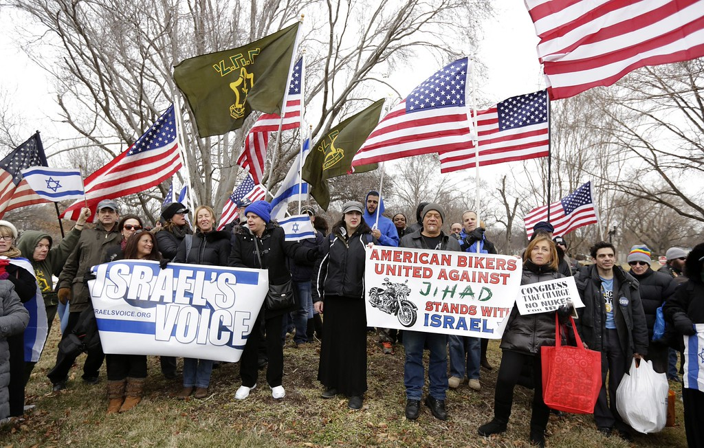 . People demonstrate outside the US Capitol on March 3, 2015 in Washington, DC where Israeli Prime Minister Benjamin Netanyahu is to address a joint meeting of Congress. AFP PHOTO/CHRIS KLEPONIS/AFP/Getty Images