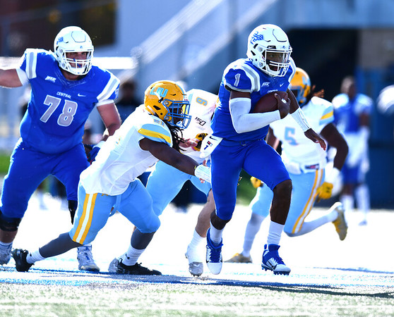 10/26/2019 Mike Orazzi | Staff CCSU's Aaron Winchester (1) during Saturday's football game with Long Island University in New Britain.