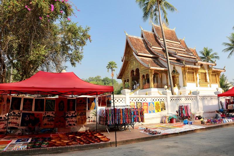 Market street outside Wat Haw Pha Bang - Luang Prabang, Laos