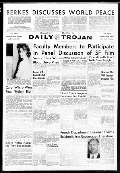 Daily Trojan, Vol. 52, No. 86, March 08, 1961
