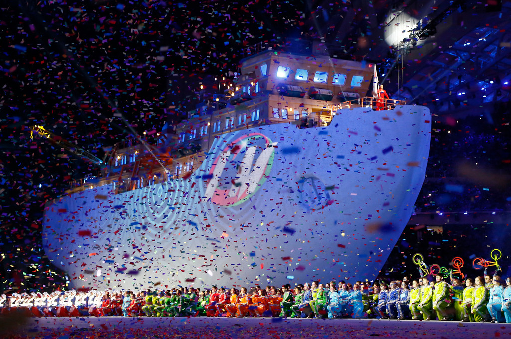 . A huge icebreaker ship makes its way during the closing ceremony of the 2014 Winter Paralympics at the Fisht Olympic stadium in Sochi, Russia, Sunday, March 16, 2014. (AP Photo/Dmitry Lovetsky)