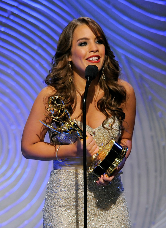""". Kristen Alderson accepts the award for outstanding younger actress in a drama series for \""""General Hospital\"""" at the 40th Annual Daytime Emmy Awards on Sunday, June 16, 2013, in Beverly Hills, Calif. (Photo by Chris Pizzello/Invision/AP)"""