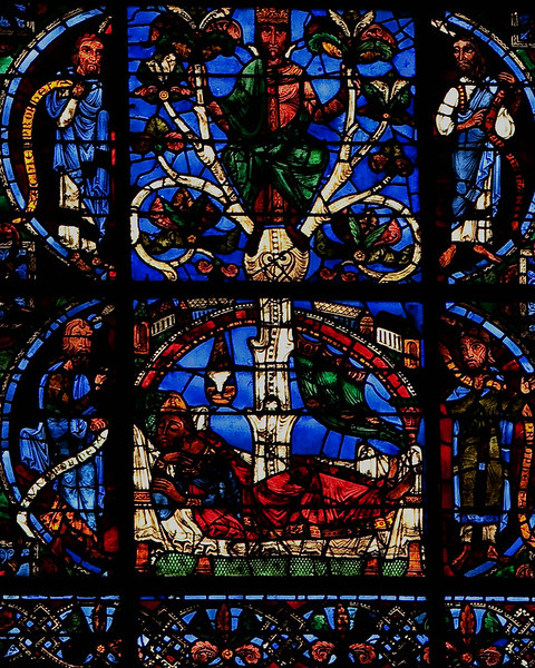 Chartres Cathedral West Facade Window, The Tree of Jesse, Jesse Sleeping
