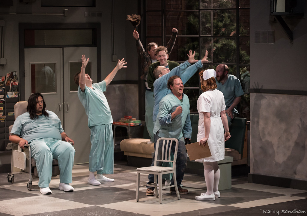 ". Maurice Cole, left, Jeremy Gladen, Steve Oleksa, Tony Zanoni, George Roth, Bryant Carroll, Katherine DeBoer and Bevan Haynes star in the Beck Center for the Arts productino of ""One Flew Over the Cuckoo\'s Nest.\"" The show continues through Oct. 8. For more information, visit www.beckcenter.org. (Kathy Sandham)"