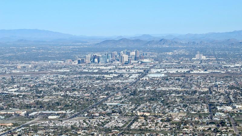Downtown Phoenix as seen from Dobbins Lookout (2019)