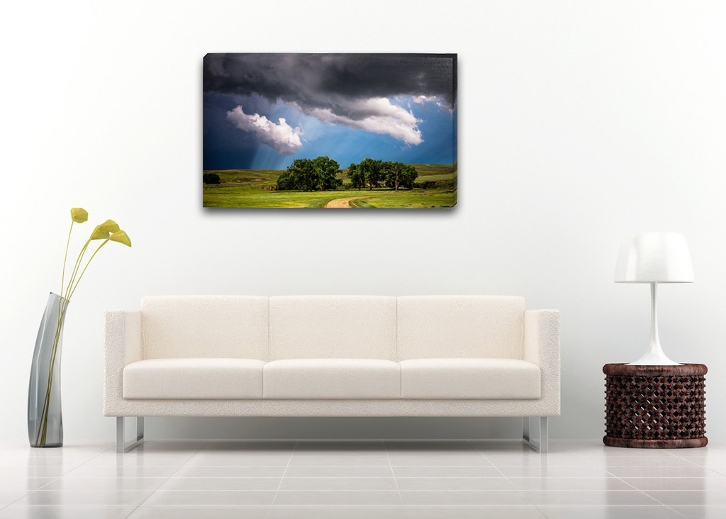 "$200    -    50 Shades of Blue    -    40"" x 24"" Gallery Wrap 1.5"" Canvas"