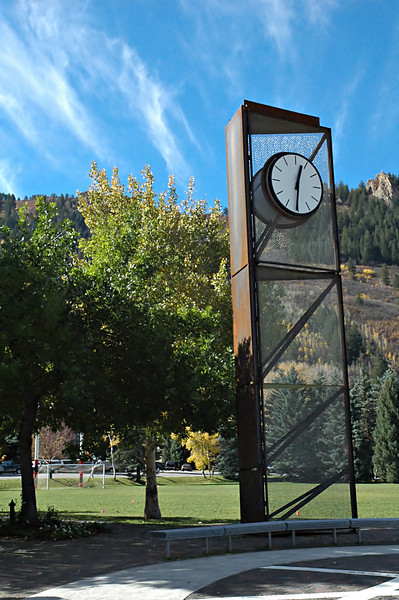 The clock tower in the main park area