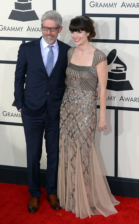 . Matt Maher and guest arrive at the 56th Annual GRAMMY Awards at Staples Center in Los Angeles, California on Sunday January 26, 2014 (Photo by David Crane / Los Angeles Daily News)