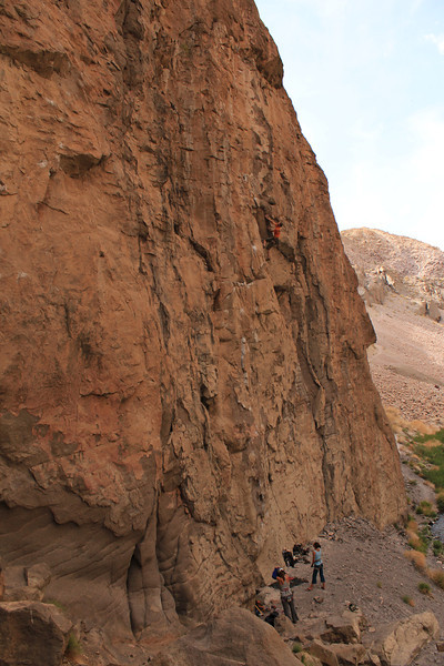 Chris climbing a 5.12 in Owens river gorge
