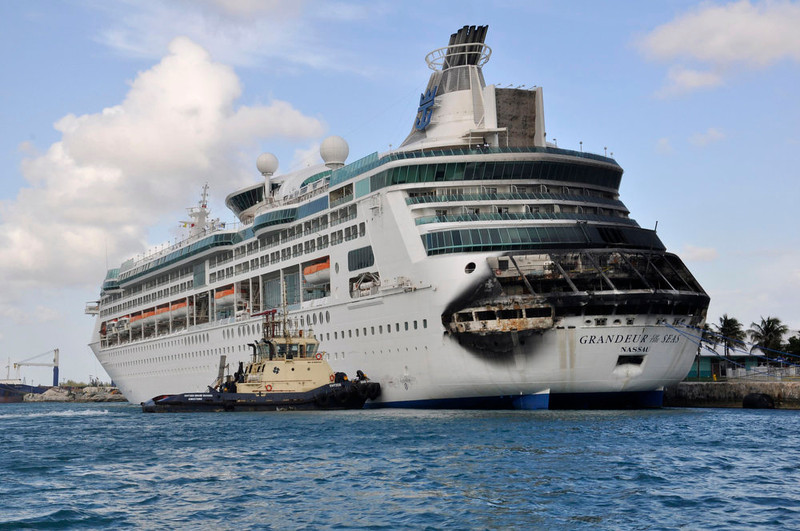 . Damage on the Royal Caribbean ship Grandeur of the Seas is pictured as the ship is docked in Freeport May 27, 2013. A fire broke out on the ship\'s aft mooring deck in the early hours of Monday morning. The fire was extinguished at 0458 ET, and all 2,224 passengers and 796 crew members were safe and accounted for, according to the company.   REUTERS/Vandyke Hepburn