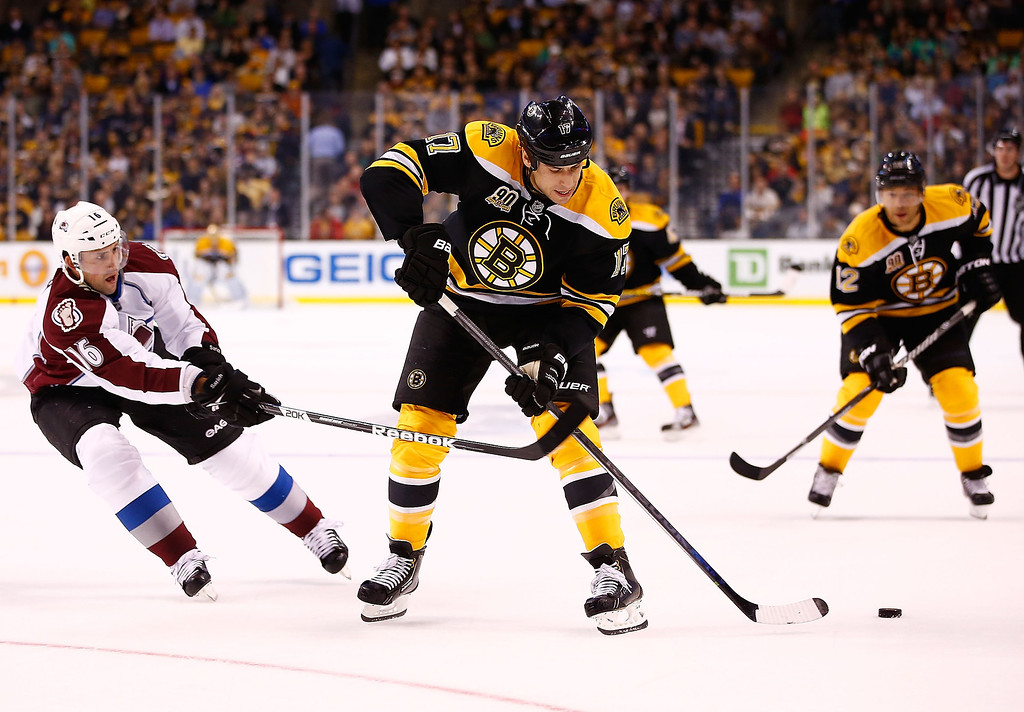 . Milan Lucic #17 of the Boston Bruins passes the puck backwards against Cory Sarich #16 of the Colorado Avalanche in the first period during the game on October 10, 2013 at TD Garden in Boston, Massachusetts. (Photo by Jared Wickerham/Getty Images)