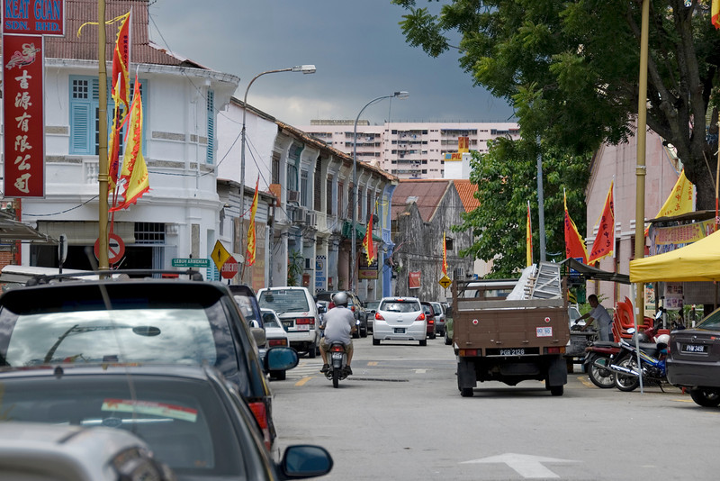 Busy street in George Town, Penang, Malaysia