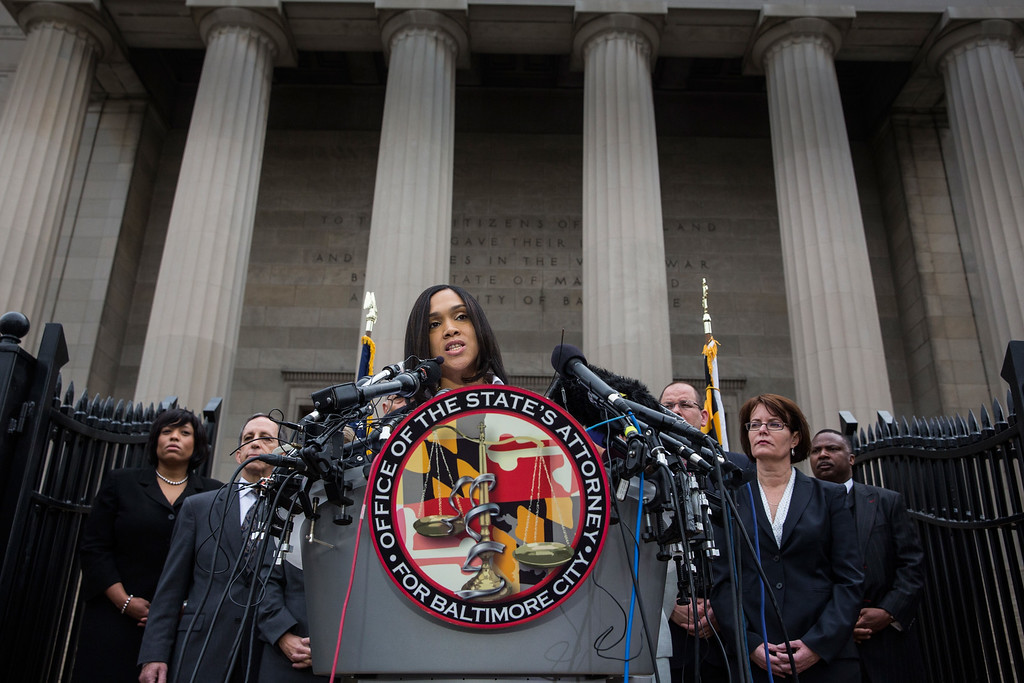 . BALTIMORE, MD - MAY 01:  Baltimore City State\'s Attorney Marilyn J. Mosby announces that criminal charges will be filed against Baltimore police officers in the death of Freddie Gray on May 1, 2015 in Baltimore, Maryland. Gray died in police custody after being arrested on April 12, 2015.  (Photo by Andrew Burton/Getty Images)