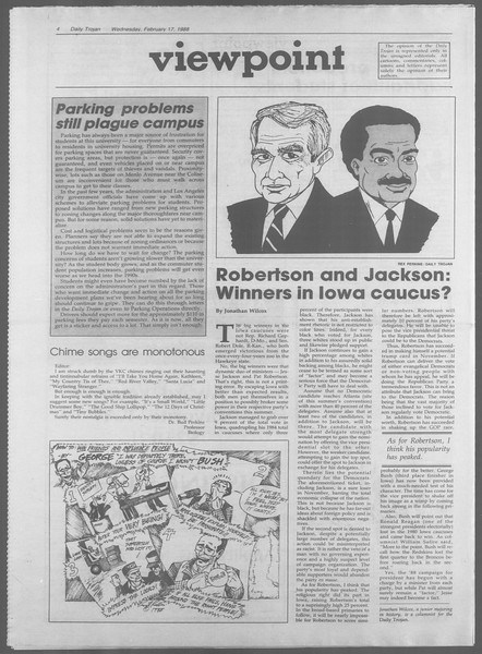 Daily Trojan, Vol. 106, No. 25, February 17, 1988
