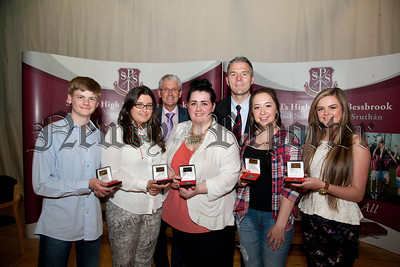 Class Medal Winners,Kirsty Finnegan,Eimear Rice,Micheael Mc Cullough,Niamh Mc Keown,Katie O' Hare,pictured with Principle Jarlath Burns, Chair. of Governors John Campbell.R1438714