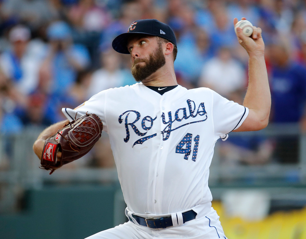. Kansas City Royals starting pitcher Danny Duffy throws during the first inning of the team\'s  baseball game against the Cleveland Indians on Tuesday, July 3, 2018, in Kansas City, Mo. (AP Photo/Charlie Riedel)