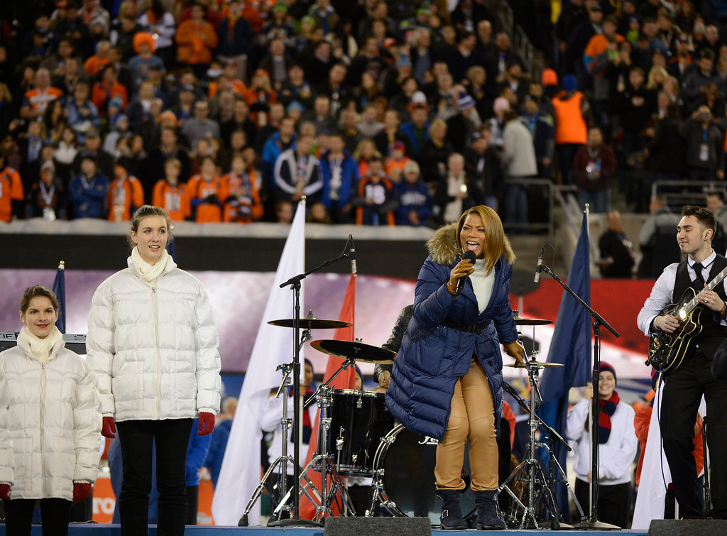 . Queen Latifah sings \'America the Beautiful\' at the start of the game. The Denver Broncos vs the Seattle Seahawks in Super Bowl XLVIII at MetLife Stadium in East Rutherford, New Jersey Sunday, February 2, 2014. (Photo by Joe Amon/The Denver Post)