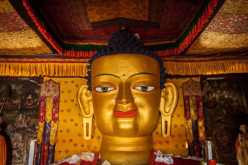 Sakyamuni Buddha statue in Shey monastery. Shey, Ladakh, India
