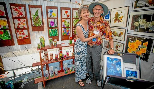 . Pasadena artist Ovie and Catherine Cowles\' work during Art on the Lake XIV at the Bartlett Events Center in Big Bear Lake, Saturday , Aug. 17, 2013.  (Photo by Eric Reed for The Sun)