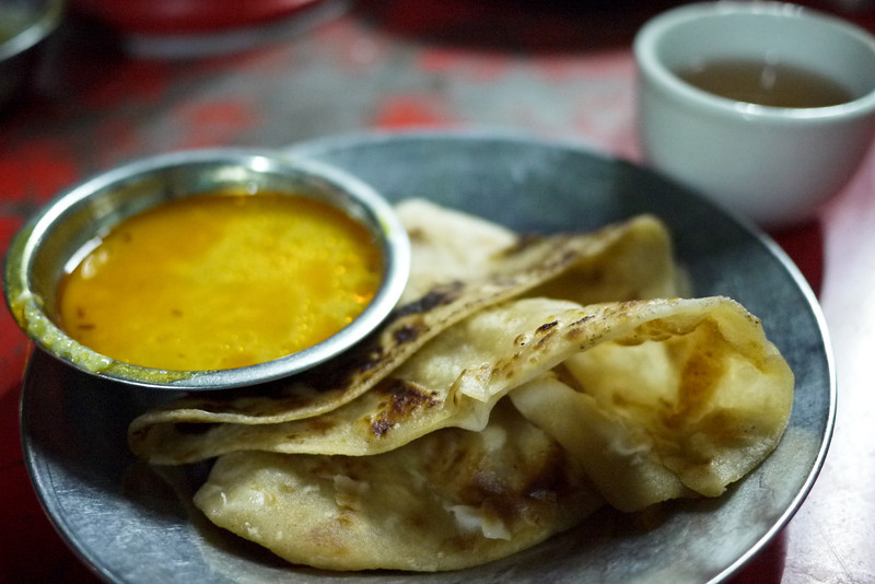 A delicious chapati and dhal from the street food stall near the ET Hotel in Mandalay, Burma.