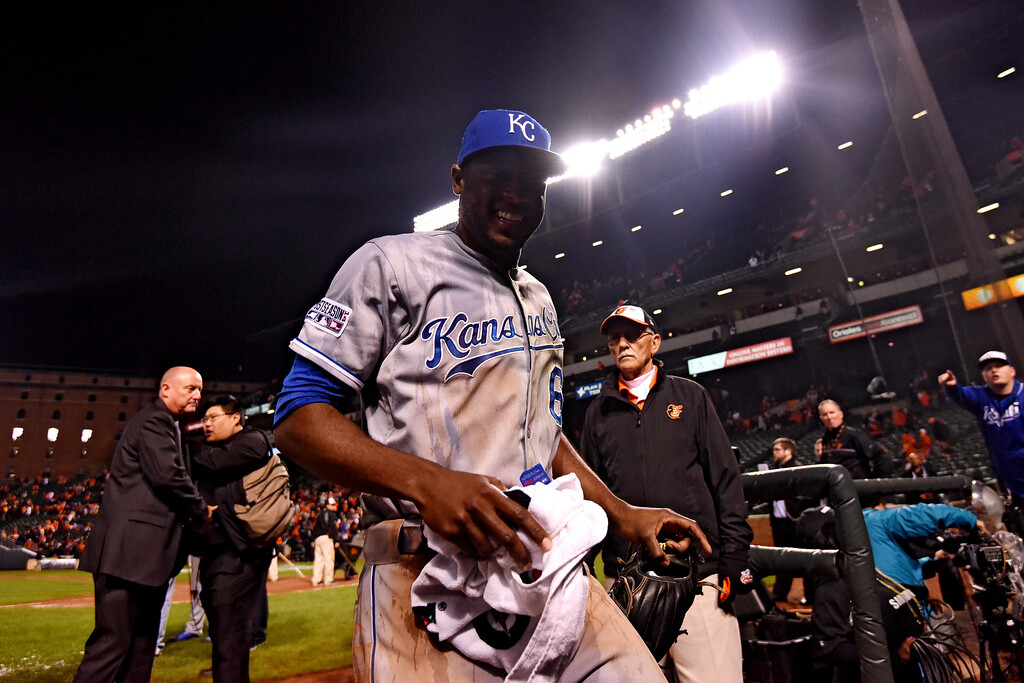 . BALTIMORE, MD - OCTOBER 11:  Lorenzo Cain #6 of the Kansas City Royals exits the field after defeating the Baltimore Orioles 6 to 4 in Game Two of the American League Championship Series at Oriole Park at Camden Yards on October 11, 2014 in Baltimore, Maryland.  (Photo by Patrick Smith/Getty Images)