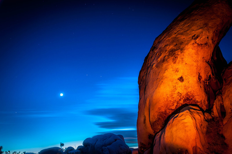 Fire Light During The Blue Hour - Joshua Tree National Park, CA, USA