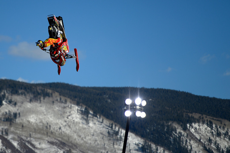 . Colten Moore rides his sled during a snowmobile freestyle practice session. Moore\'s older brother, Caleb Moore, died last year as a result of an injury suffered in the snowmobile freestyle competition. X Games Aspen at Buttermilk on Thursday, January 23, 2014. (Photo by AAron Ontiveroz/The Denver Post)