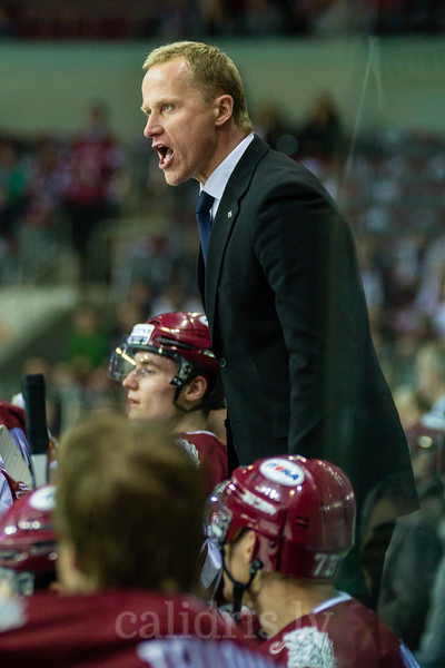 Head coach of Dinamo Riga Artis Abols yells at referee