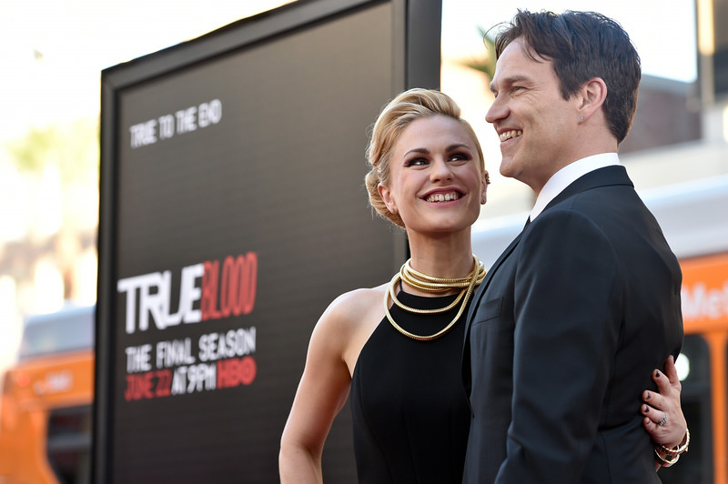 """. Anna Paquin, left, and Stephen Moyer arrive at the Los Angeles premiere of the 7th and final season of \""""True Blood\"""" at the TCL Chinese Theatre on Tuesday, June 17, 2014. (Photo by John Shearer/Invision/AP)"""
