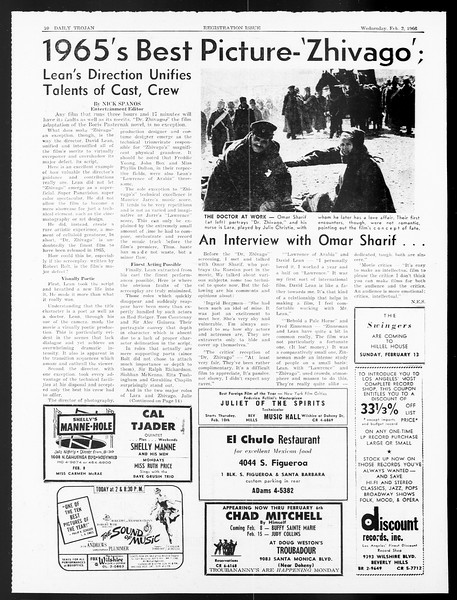 Daily Trojan, Vol. 57, No. 62, February 02, 1966