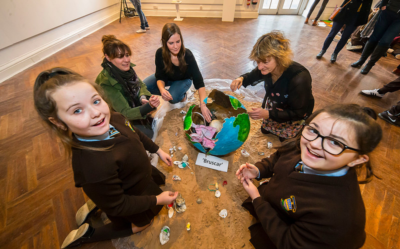 "15/01/2019. FREE TO USE IMAGE. Pictured at Garter Lane Arts Centre, Waterford city at an art exhibition ""the good, the bad and the ugly"" that discusses plastics. Recycle, reuse, reduce, replace – WIT and Waterford schoolgirls to exhibit exceptional art installation with thought-provoking components made from household plastics, pictured are Lauren and Kyria 6th class pupils of Presentation School, Waterford City with artist Rachel Smith, Cordula weiss from Calmast, WIT (Waterford Institute of Technology) and Senator Grace O'Sullivan, 