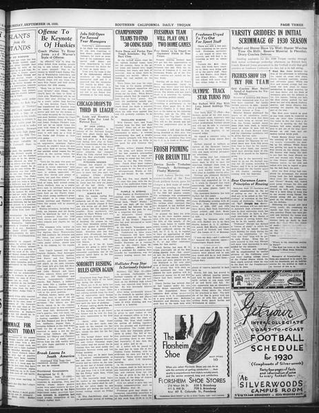 Daily Trojan, Vol. 22, No. 5, September 18, 1930