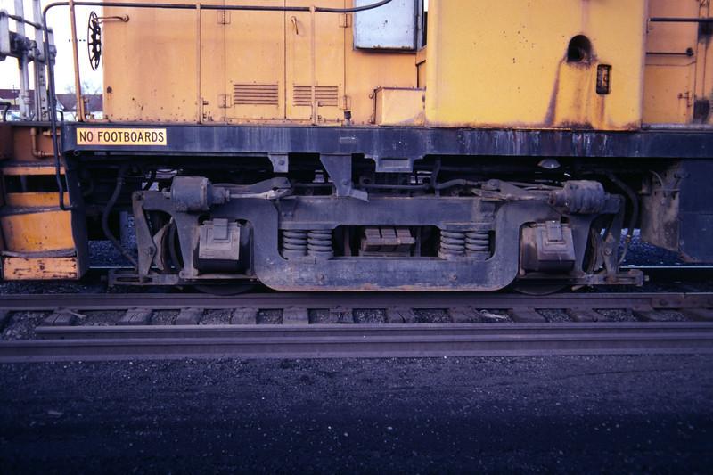 AAR Type B trucks, as used on Kennecott RS-2 731. Salt Lake City, December 1983. (Don Strack Photo)