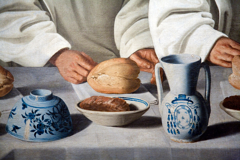 Detail from St. Hugh of Cluny in The Refectory of The Carthusians (1633), by Francisco de Zurbarán, Fine Arts Museum, Seville, Spain