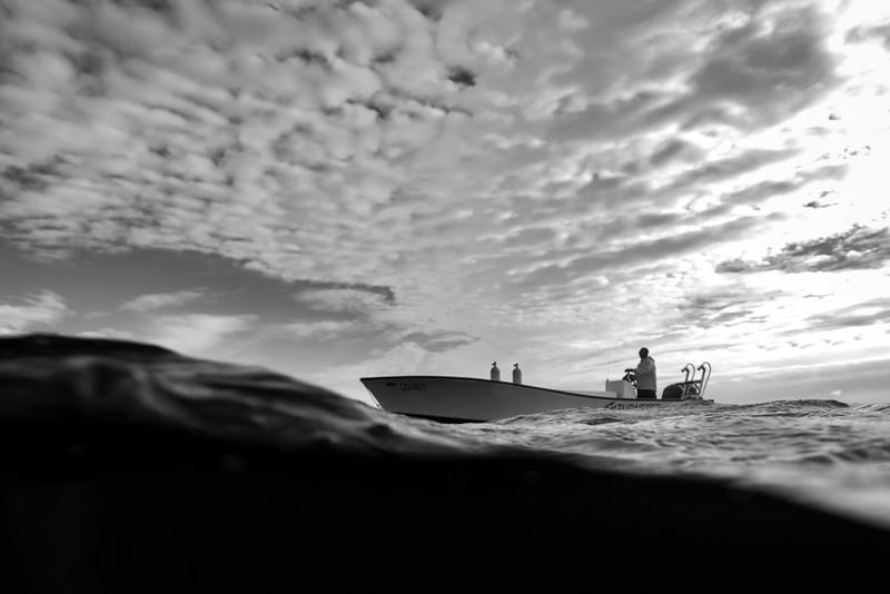 Boat in the sea, Belize