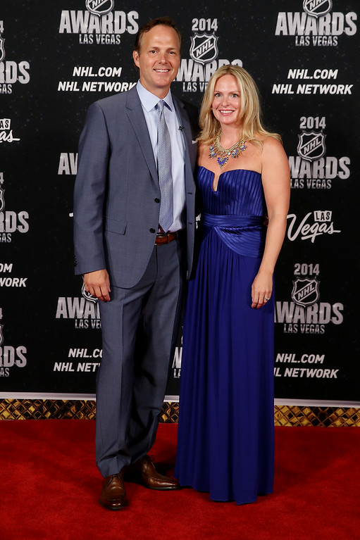 . Jon Cooper of the Tampa Bay Lightning and his wife Jessie arrive on the red carpet prior to the 2014 NHL Awards at Encore Las Vegas on June 24, 2014 in Las Vegas, Nevada.  (Photo by Bruce Bennett/Getty Images)