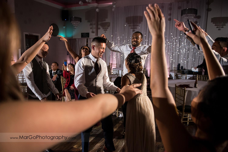 bride and groom dancing at Sunol's Casa Bella wedding reception