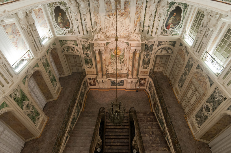 Looking down the grand staircase in Augustusburg Palace in Bruhl, Germany